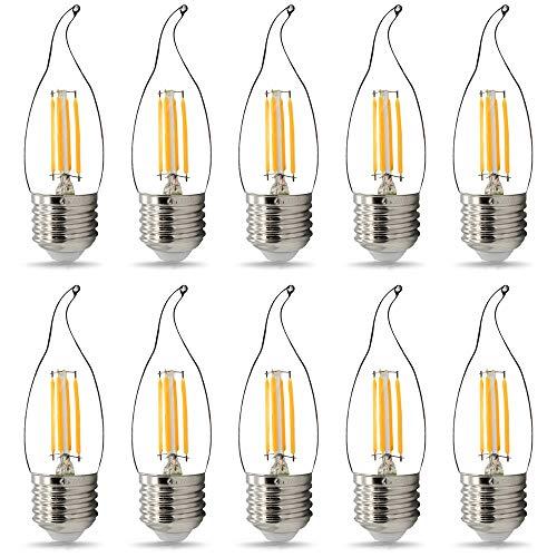 Paquete de 10 bombillas LED TIANFAN C35/G45 de filamento LED de vela de 220 V/240 V 4 W Bombilla Edison (C35 Tail E27)