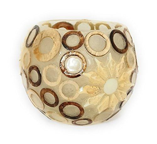 Dremic S.L. Photophore fabriqué à la main en Espagne - Cube en fibre de verre incassable décoré avec de véritables coquillages en forme d'escargot - Hauteur : env. 15 cm, diamètre : env. 13 cm, couleur : rouge