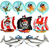 9 Pieces Pirate Ship Foil Mylar Balloons 18 Inch Round Pirate Foil Balloons Ocean Animals Shark Foil Balloons Skeleton Squid Pattern Balloon for Halloween Happy Birthday Party Supplies Decoration