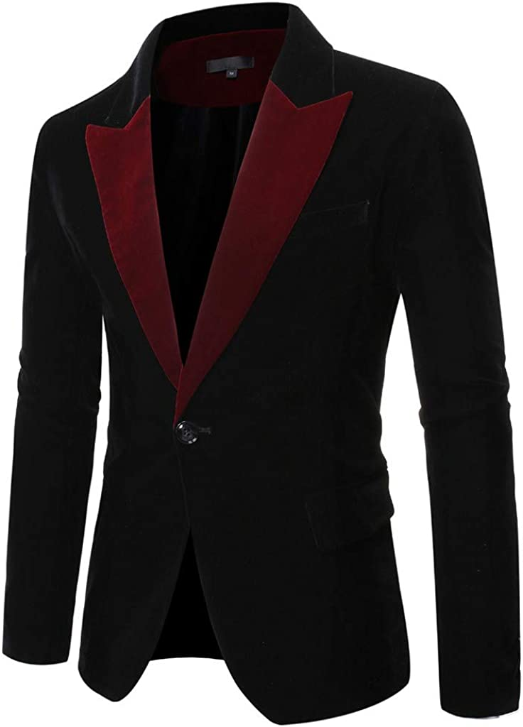 WOCACHI Mens Blazer PU Leather Casual Single Button Suit Coat Fit Lapel Jackets