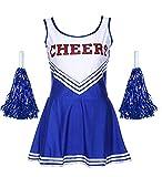 Ovender Cheerleader Costume Minivestito + Pom poms Fancy Dress High School Carnevale Halloween Cosplay...