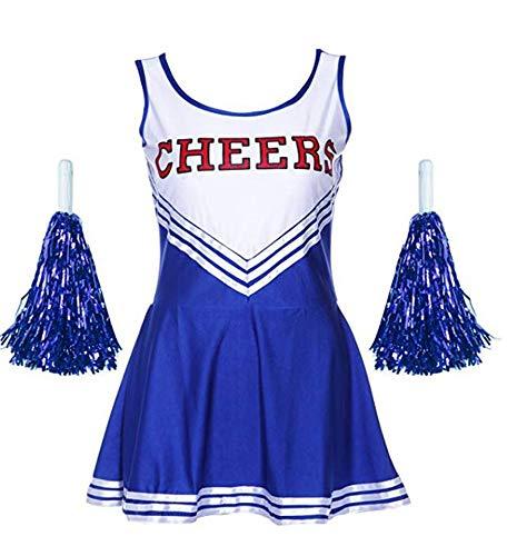 Ovender Cheerleader Costume Minivestito + Pom poms Fancy Dress High School Carnevale Halloween Cosplay Festa Party Ballo (M, Blu)