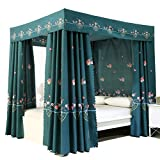 Obokidly Princess 4 Four Corner Post Bed Curtain Canopy Cute Net Canopies for Girls Boys Kids Teens Girl Adult Home Bedroom Decoration (Dark Green, Queen)