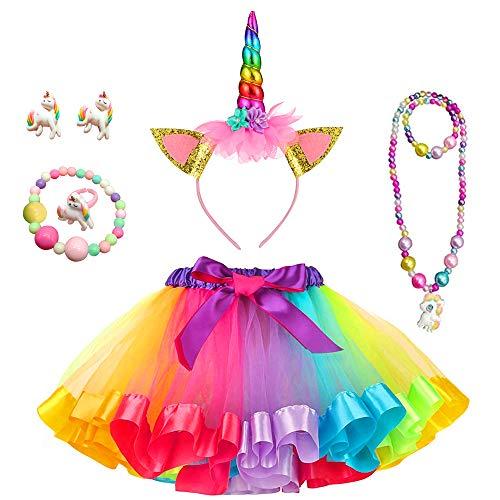 Yansion Mädchen Tüll Tutu Rock Regenbogen Layered Ballett Dance Kostüm Rock Verkleiden Spielen Spaß mit Einhorn Stirnband (L)