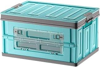 HUIXINLIANG Boîte de rangement en plastique imperméable pliable, coffre de voiture Panier de rangement pliable avec couver...
