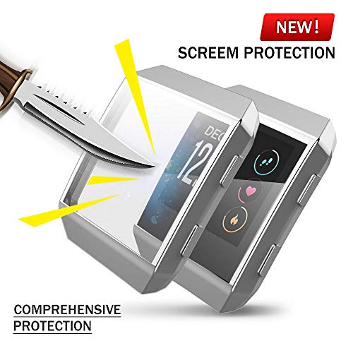 Fitbit Ionic Screen Protector Case, JZK Scratch-Resistant Flexible Lightweight Plated TPU Fullbody Protective Case for Fitbit Ionic Smart Watch (Silver)