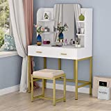Tribesigns Vanity Set with Mirror, Cushioned Stool, Large Makeup...