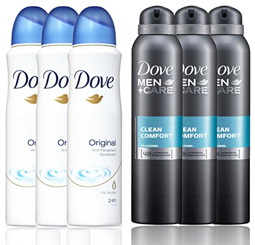 3 Bottles Dove Anti-Perspirant Deodorant Original & 3 Bottles Dove Men + Care Clean Comfort Spray Deodorant 48hr 150ML / 5.07 Oz - (Total 6 Bottle Pack) International Version