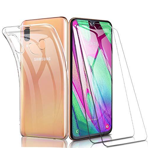 iLieber Samsung Galaxy A40 Hülle + Panzerglas, Samsung Galaxy A40 Durchsichtig Hülle Transparent Silikon TPU Schutzhülle Premium 9H Gehärtetes Glas für Samsung Galaxy A40