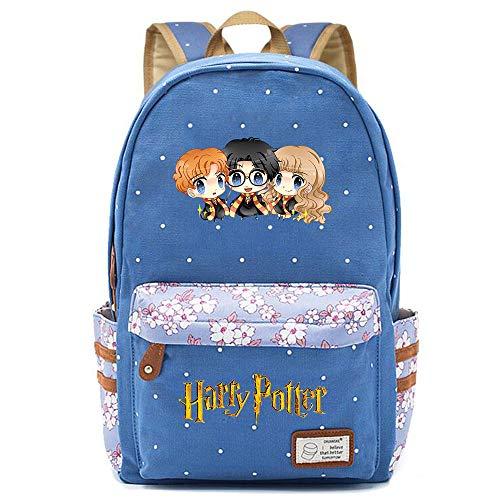 NYLY Mochila Avatar de Harry Potter,Joven Estudiante Bolsa para la Escuela, niña Flores Backpack Bolsa para portátil Unisexo (Estilo A) L Azul
