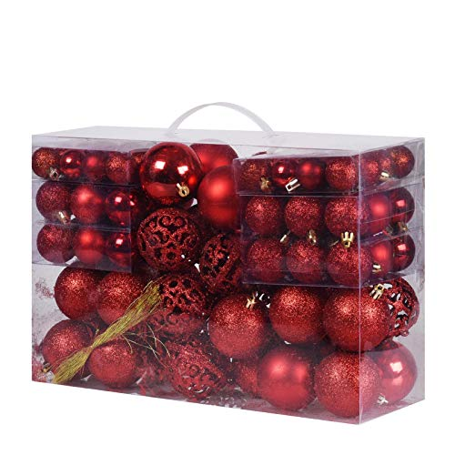 100Pcs Christmas Balls Ornaments, Decorative Hanging Baubles Set with Reusable Hand-held Gift Package for Xmas Tree(Red)