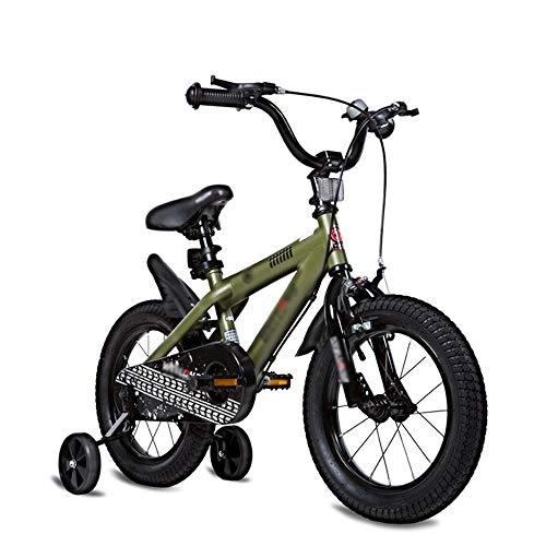 Bicicletas para niños Tamaño opcional 12 pulgadas 14 pulgadas 16 pulgadas 18 pulgadas 20 pulgadas Material de protección ambiental 6 colores Opcionales (Color: Verde, Tamaño: 16 pulgadas)