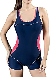 Women Essential Sport Endurance Legsuit Tankini Ladies Swimsuit Swimming Costume Racer Back Shorts Style Legs Soft and Comfortable Without Irritation (Color : Blue Red, Size : 18)