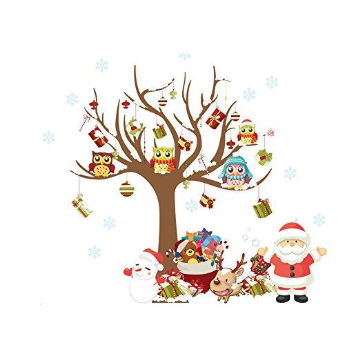 Adesivo per finestra per Buon Natale felice anno nuovo decorazione Owl santa snowman reindeer Christams