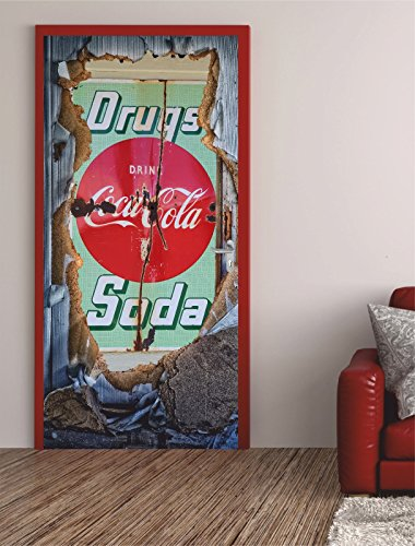 Türposter WERBUNG 100x200cm Türfolie Türtapete Cola Drugs Bar Gastro 621tp