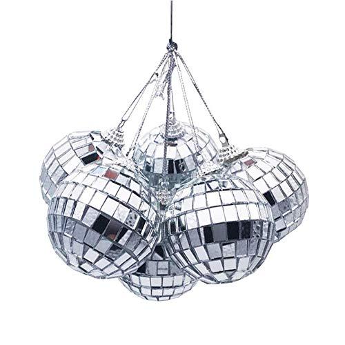 RIsxffp 6Pcs Espejo Adorno de Bola de Discoteca de Cristal Colgante de árbol de Navidad Decoración de Fiesta en casa 5cm