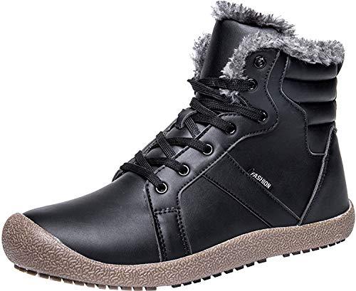 JIASUQI Womens Mens Anti Slip Winter Waterproof Warm Boots Walking Shoes Black Women 9.5/Men 7.5