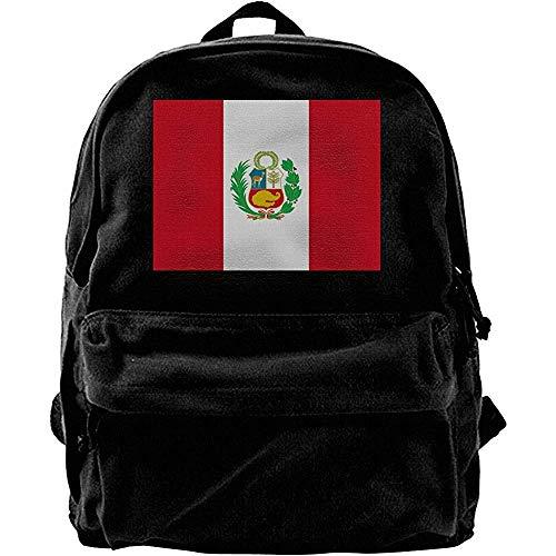 Yuanmeiju Mochila clásica de Lona, Mochilas Escolares universitarias, Mochila de Viaje, Mochilas para computadora con la Bandera de Perú, Mochila Informal para el Hombro