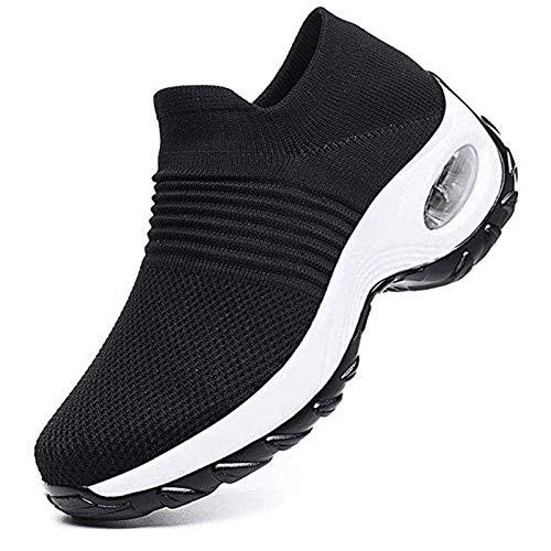 Sneakers Zeppa Donna Scarpe da Ginnastica Basse Corsa Sportive Fitness Running Mesh Air Scarpe Estive Primavera Casual All'Aperto Gym,Nero-Bianco,38 EU