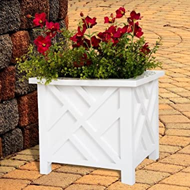 Pure Garden Plant Holder – Planter Container Box for Garden, Patio, and Lawn – Outdoor Decor by White