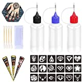 Henna Tattoo Applicator Bottles Temporary Tattoos Kit Body Art Painting Stencils for Henna Tattoo Ink Cones Paste - 3 Pcs (Black/Brown)