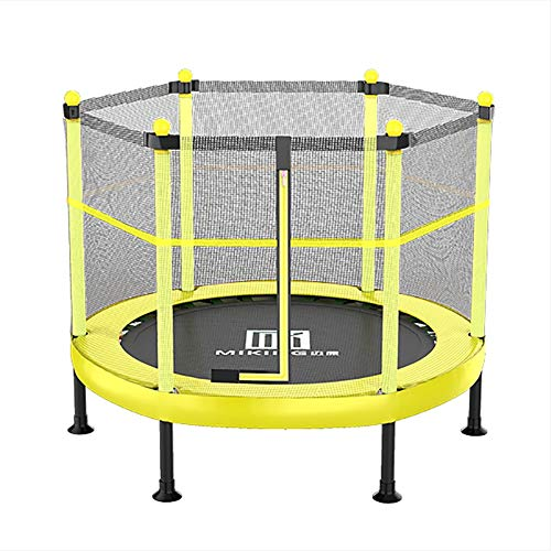 Erru Foldable Mini Trampoline with Safety Enclosure Net, Yellow Round Trampoline Silent Elastic Rope, Best Gift for Kids Children (Color : Yellow, Size : 48inch)