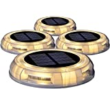 Solar Disk Lights, 4PACK Solar Dock Lights, Outdoor Waterproof Solar Ground Light for Lawns, Walkways, Courtyards, Decks, Terraces, Pathway, Stairs