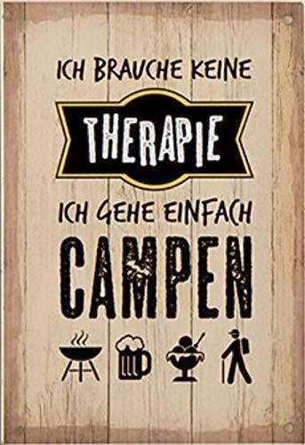 G.H. Vintage Retro Metallschild, Modell: ICH Brauche Keine Therapie, Maße 19 x 13 cm, Creme, ideal für Camper, Zelter, Caravaner, Wohnmobilisten, oder einfach Zuhause.