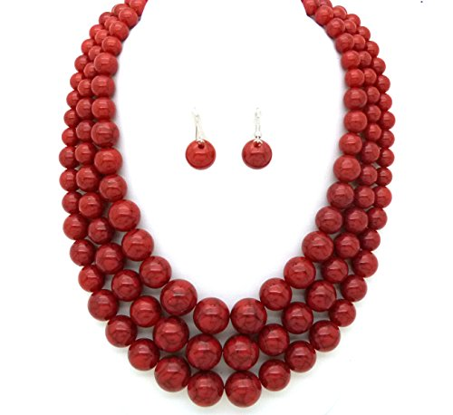 Women's Simulated Faux Three Multi-Strand Pearl Statement Necklace and Earrings Set (Coral)