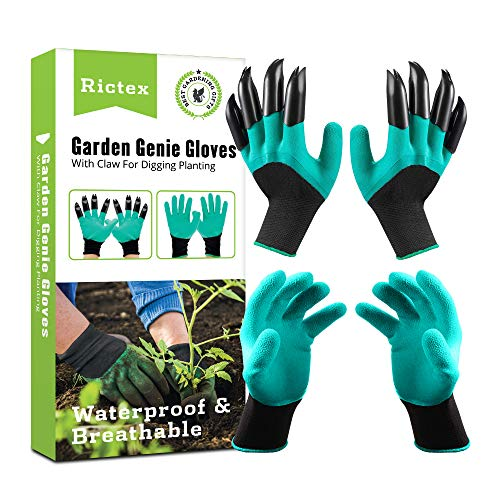 Rictex Garden Genie Gloves with Claws Waterproof Gloves For Digging and Planting Gardening Tool for Women and Men2 Pairs