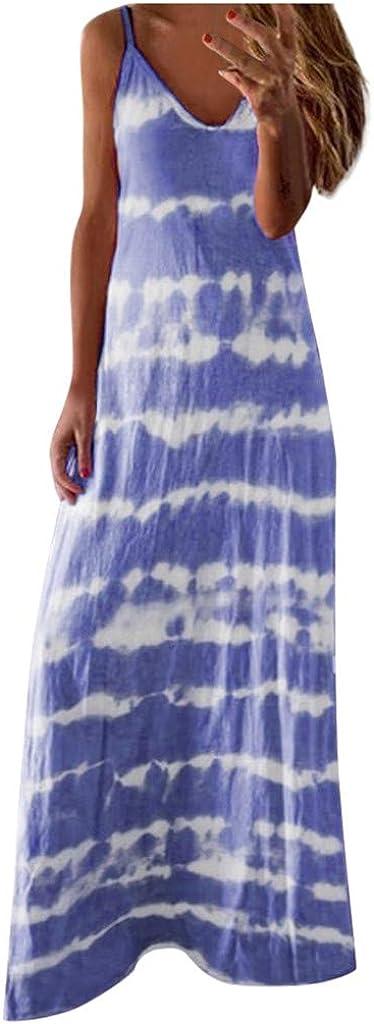 Tavorpt Summer Dresses for Women Maxi Sleeveless Sexy Striped Sling Casual Sundress Beach Party Split Cami Long Dress