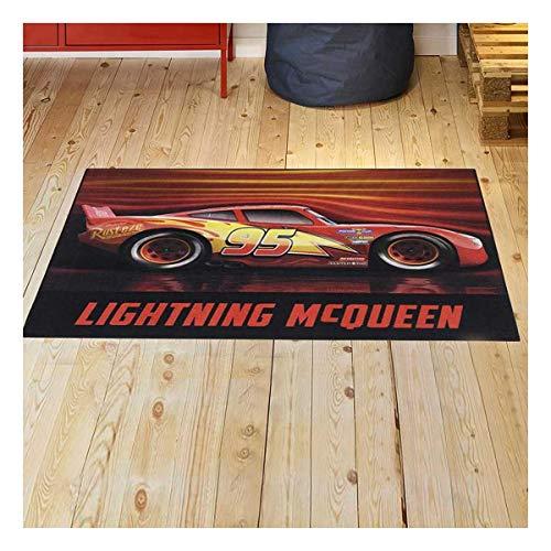 Tapis Enfant 95x125 cm Rectangulaire Cars III 02 Lightning MC Queen Rouge Chambre adapté au Chauffage par Le Sol