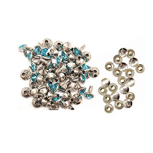 Trimming Shop 8mm Diamante Rivet Studs voor Leren Ambachten met Gekleurde Acryl Strass Steentjes - Perfect voor Riemen, Tassen of Hond Kraag (Pak van 50)