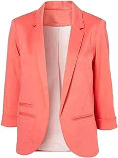SEBOWEL Women's Fashion Casual Rolled Up 3/4 Sleeve Slim...