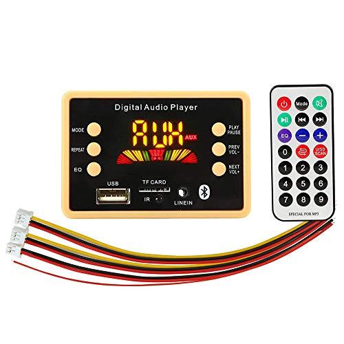 Nuevo 5pcs 12V Bluetooth 5.0 Tarjeta decodificadora de audio MP3 para automóvil Formato sin pérdidas Reproducción de carpetas FM USB Tarjeta TF con pantalla a color Controlador distante Durable