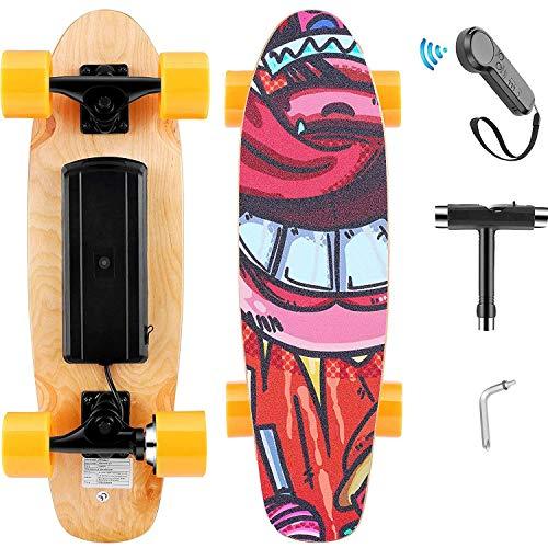 Skateboard Elettrico con Telecomando, Longboard Elettrico in Acero a 7 Strati, velocità Max 20 km/h, Motore da 350 W, Completo Skateboard Cruiser per Adulto, Ragazzo, Bambino (Arancia)
