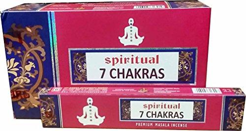Sri Durga Perfumery Works Spirtual 7 Chakras Premium Masala Räucherstäbchen/Joss Sticks/Agarbatties (15 g x 12 Packungen)