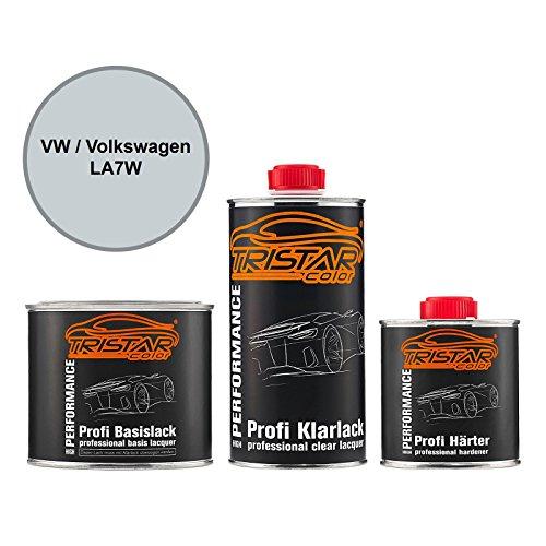TRISTARcolor Autolack Set Dose spritzfertig für VW/Volkswagen LA7W Reflexsilber Metallic/Reflex Silver Metallic Basislack + 2K Klarlack 1,25L