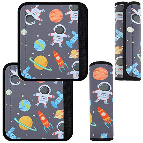 2 Pieces Spaceman Seat Belt Cover Cartoon Seat Belt Cushion Cute Seat Belt Padding Car Shoulder Strap Pad for Kids Children Girls and Boys