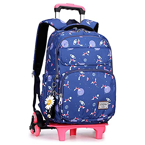 Mochila para niños con ruedas, con ruedas, gran capacidad, desmontable, puede subir escaleras, ZJ666 (color: azul)