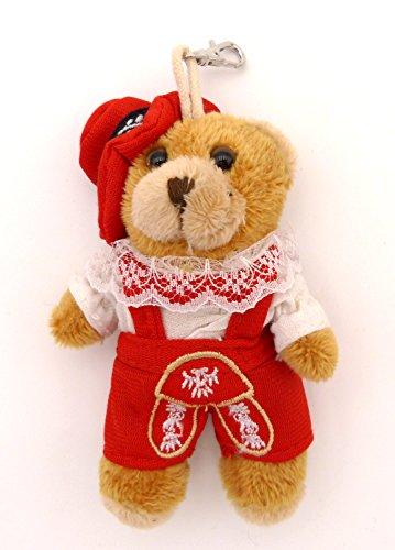 BOBBL Süßer Plüsch Dirndl Trachtenbär Schlüsselanhänger - Taschenanhänger - Lederhose rot- ca. 10,5 cm