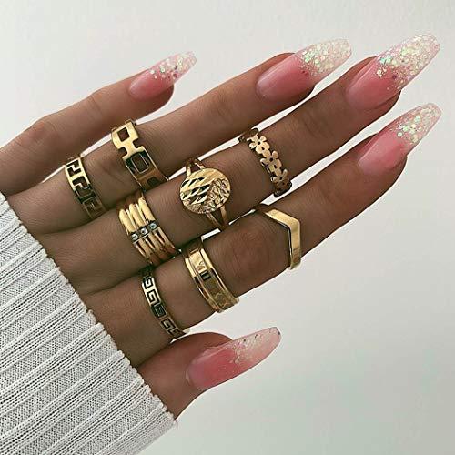 Genglass Anneaux d'articulation vintage Boho pièce d'or mixte bague d'articulation ensemble bijoux pour femmes et filles (8 pièces)