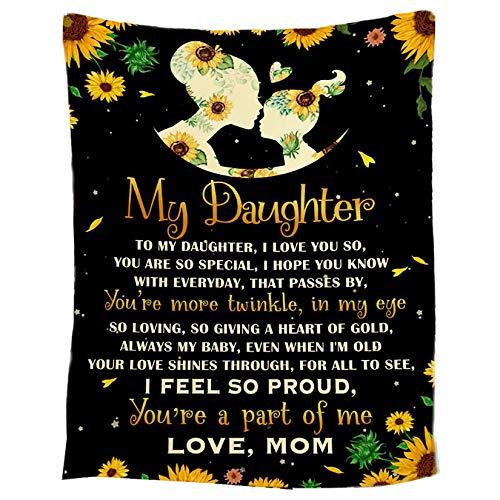 Manta de Franela para mi Hija Manta de Lana de Franela con Letra Impresa para Correo Aéreo Sala de Estar y Dormitorio Regalo Muy Ideal, To Daughter,100x150cm