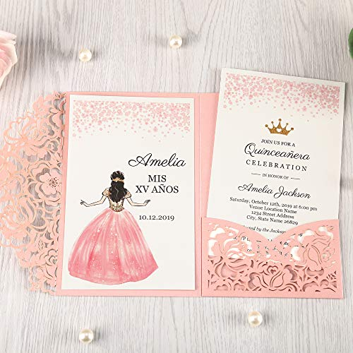 Doris Home 50pcs 4.7 x7 inch Pink Laser Cut Hollow Floral Wedding Invitations Cards with Envelopes for Sweet 16 Quinceañera Birthday Invites