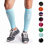 dimok Calf Compression Sleeves – Compression Socks Footless - Reduces Fatigue Varicose Veins Muscle Pain Cramps Shin Splints, Provides Fast Recovery (Blue, M/L)