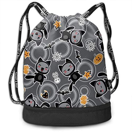 XCNGG Gato de dibujos animados de Halloween Mochila con cordón negro Mochila de paquete multifuncional Mochila con compartimento con cremallera Bolsa de cuerda para hombres Mujeres Adolescentes Nataci