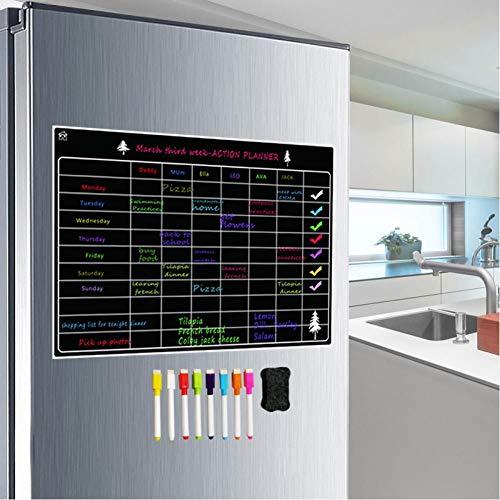 qkdop Tablero de Calendario de borrado en seco magnético para refrigerador A3...