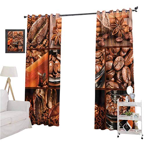 Brown Solid Color Curtains Antique Grinder Coffee Beans The Best Choice for Bedroom and Living Room W120 x L84