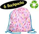 Pink Sprinkles Donut Girls Party Favors Bags Drawstring Backpacks // Made of Recycled RPET // 6-Pack, 12x14 inches