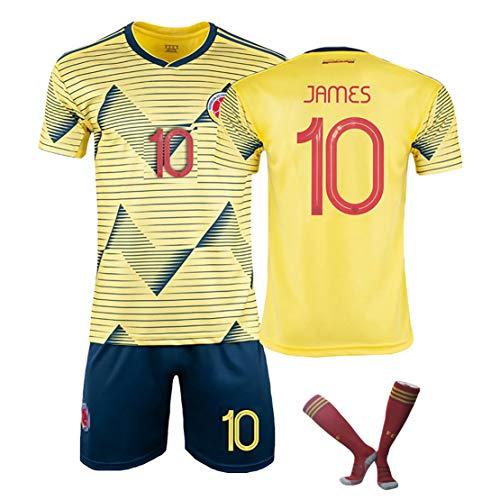 MJAD Copa America Heim-Auswärtstrikot Kolumbien Nr. 10 J Luo Fußballanzug Anzug männliche Trainingsmannschaft Uniform Anpassung-yellow10-L